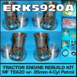 ERK5920-A Rebuild Kit Massey Ferguson TEA20 Tractor w original 85mm bore Engine, and with 5-Ring Piston