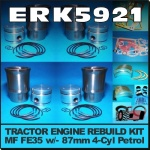 ERK5921 Rebuild Kit Massey Ferguson 35 135 Tractor w MF 87mm 4Cyl Petrol Engine