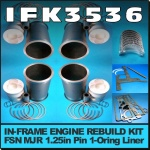 IFK3536 In-Frame Engine Rebuild Kit Fordson New Major Tractor with Ford 592E Engine, that has 1.1/4in Gudgeoon Pin and 1-Oring Liner