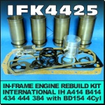 IFK4425 In Frame Engine Rebuild Kit International IH A414, B414, 434, 444, 384 Tractor with IH BD154 Engine