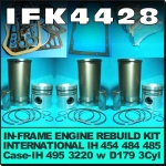 IFK4428 In-Frame Engine Rebuild Kit Case IH 485, 495, 3220 Tractor, and International IH 454, 484, 485 Tractor all with IH Neuss D179 3Cyl Diesel Engine