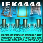 IFK4444 Inframe Engine Kit Case IH 885 895 4230 Tractor, and International IH 884, 885 Tractor, all with IH Neuss D268 4Cyl Diesel Engine