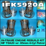 IFK5920-A Rebuild Kit Massey Ferguson TEA20 Tractor w original 85mm bore Engine, and with 5 ring piston