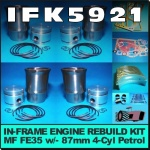 IFK5921 Rebuild Kit Massey Ferguson 35 135 Tractor w MF 87mm 4Cyl Petrol Engine