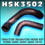 HSK3502 Radiator Hose Kit Ford 2000 2600 2610 3000 3230 3430 3600 3610 3910 3930 4000 4100 4110 4130 4600 4610 4630 Tractor, all with 3Cyl Diesel Engine