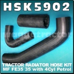 HSK5902 Radiator Hose Kit Massey Ferguson FE35 35 Tractor MF 4Cyl Petrol Engine