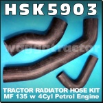 HSK5903 Radiator Hose Kit Massey Ferguson 135 Tractor with MF 4Cyl Petrol Engine