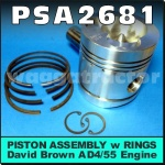 PSA2681 Piston Assy w Rings David Brown 990 995 996 1200 1210 1212 Tractor and JI Case 1290 1294 1390 1394 Tractor all with AD4/55 455 4Cyl Diesel Engine