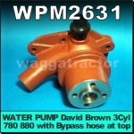 WPM2631 Water Pump David Brown 770 780 Selectomatic Tractor & 880 3Cyl Implematic & Selectamatic Tractor, early models with Bypass Hose at top of pump