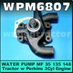 WPM6807 Water Pump Massey Ferguson MF 35 35X 135 148 154 235 240 254 264 353 355 363 550 Tractor with Perkins 3-152 3-152D Diesel Engine