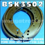 BSK3502 Brake Shoe Kit Ford 2000 3000 Tractor Late with 2.0in wide shoes