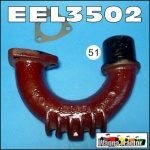 EEL3502 Exhaust Elbow Ford Fordson Dexta, Super-Dexta Tractor, with vertical exhaust beside bonnet