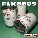 FLK6609 Oil Fuel Filter Kit Nissan GQ GU Patrol 1987 thru 2002 with TD42 4.2L Diesel Engine all with two similar oil filters and 36M1.5 sensor port in fuel filter 14cm long