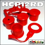 HCP12RD 4x Red Hydraulic Coupler Dust Caps for Remotes - ISO 1/2in type