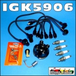 IGK5906 Tune-Up Kit Massey Ferguson MF TEA20, TED20, FE35, 35, 135 Tractor with Standard Vanguard 80mm, 85mm, 87mm 4-Cyl Petrol or Kero Engine, all with replacement distributor and OE style leads