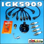 IGK5909 Tune-Up Kit Massey Ferguson MF TEA20, TED20, FE35, 35, 135 Tractor with Standard Vanguard 80mm, 85mm, 87mm 4-Cyl Petrol or Kero Engine, all with replacement distributor and requiring modern leads