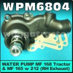 WPM6804 Water Pump Chamberlain 212 236 Tractor, IH 475 Tractor, Massey Ferguson MF 165(RH) 168 174 175 178 184 185 188 194 265 274 275 285 290 294 575 590 595 675 690 Tractor all with Perkins 212 236 248 Diesel Engine